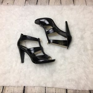Michael Kors T Strap Black Patent Leather Heels